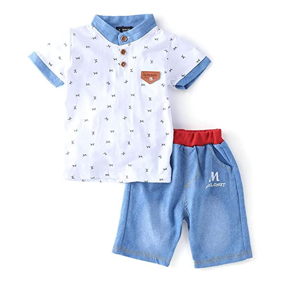 5229a5464749ce Si Noir by Hopscotch Boys Cotton Smart T-Shirt and Shorts Set in White Color