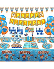 Blippi Party Supplies for Kids Birthday,Blippi Party Decorations Kit favor theme for Boys And Grils Included Table Cloth,Cake Dishes,Napkins,Gift Bags,Blowouts,Ballons,Banner,Knives,Forks,Spoons and Cake Cupcake Toppers Set of 134pcs for 10 Guest