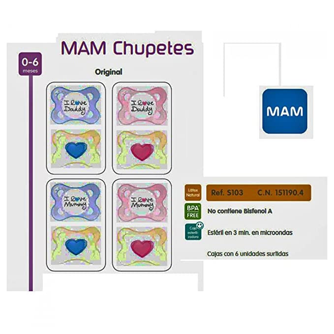 MAM - Chupete Love & Affection Daddy Látex Mam 2 uds 0m+: ...