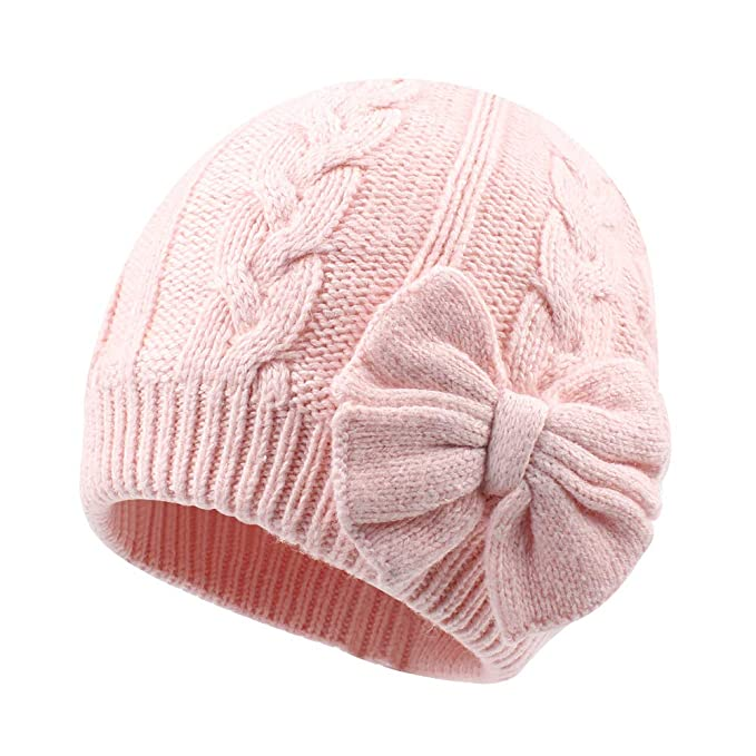 a08fd6b5edb Winter Warm Knitted Baby Hat for Girls Cotton Lined Infant Toddler Girls Hat  Autumn Cute Bow