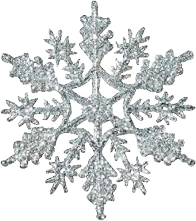 Silver Glittered Snowflake Ornaments144 Total Pieces