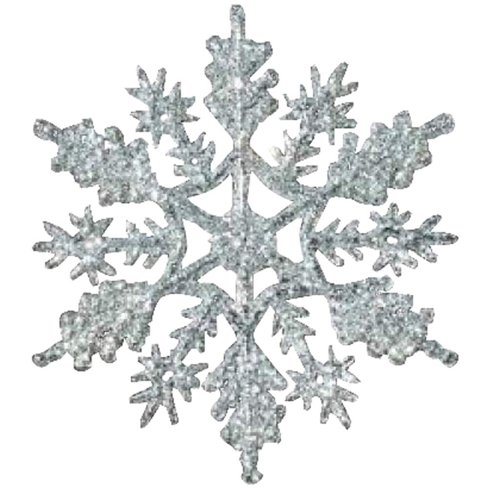 12-pc Silver 4 inch Snowflake Christmas Ornaments Knextion Inc 001