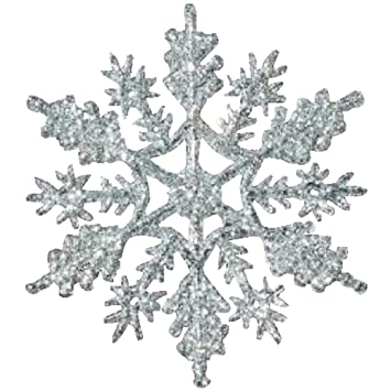 12 pc silver 4 inch snowflake christmas ornaments