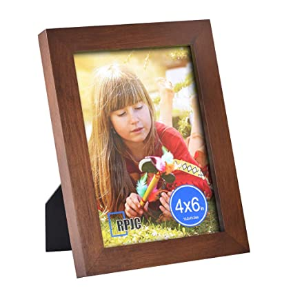 Rpjc 4x6 Picture Frame Made Of Solid Wood High Definition Glass For Table Top Display And Wall Mounting Photo Frame Brown