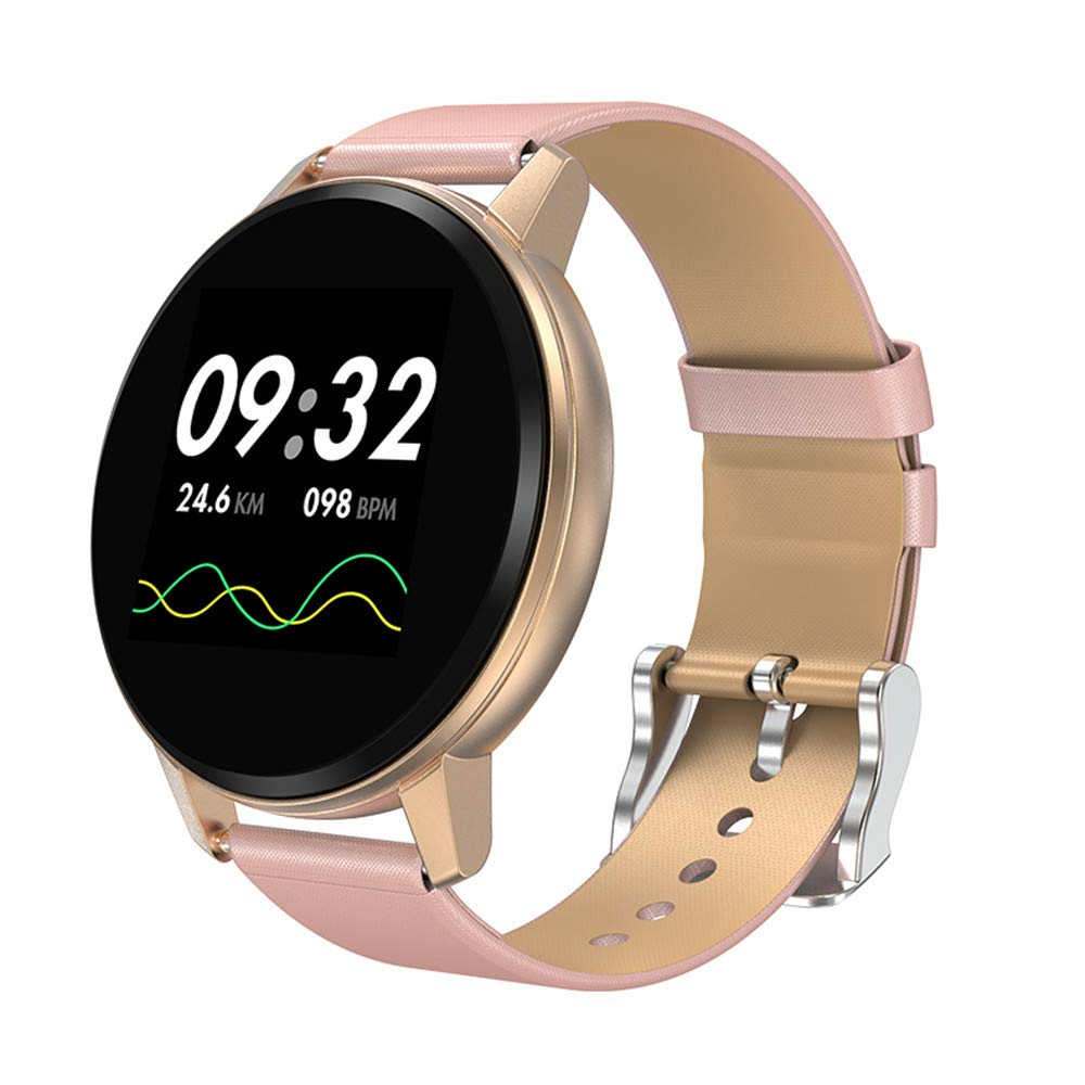 Smart Fitness Watch, KingTo 1.22 Inch Color Screen Bluetooth Smart Watch for iPhone Waterproof IP67 Bracelet Heart Rate Blood Pressure Health Monitoring Smart Wristwatch for Running (Gold)
