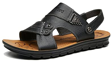 ea525fd6f4c5 Respeedime Summer Men s Leather Beach Sandals Middle-Aged Dad Non-Slip  Breathable Comfortable Slippers