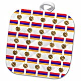 3dRose 777images Flag and Crest Patterns - The flag and Coat of Arms of the Republic of Armenia make a colorful patriotic Armenian pattern. - 8x8 Potholder (phl_63234_1)