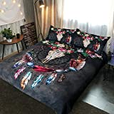 Sleepwish Boho Dreamcatcher Bedding Tribal Horns Feathers Flowers Cool Skull Black Duvet Cover Country Rustic Bedding Sets (Queen)