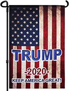 FRF Tea Stained American Flags Trump 2020 Garden Flag Double Sided Keep America Great 12.5×18 inch Outdoor Banner