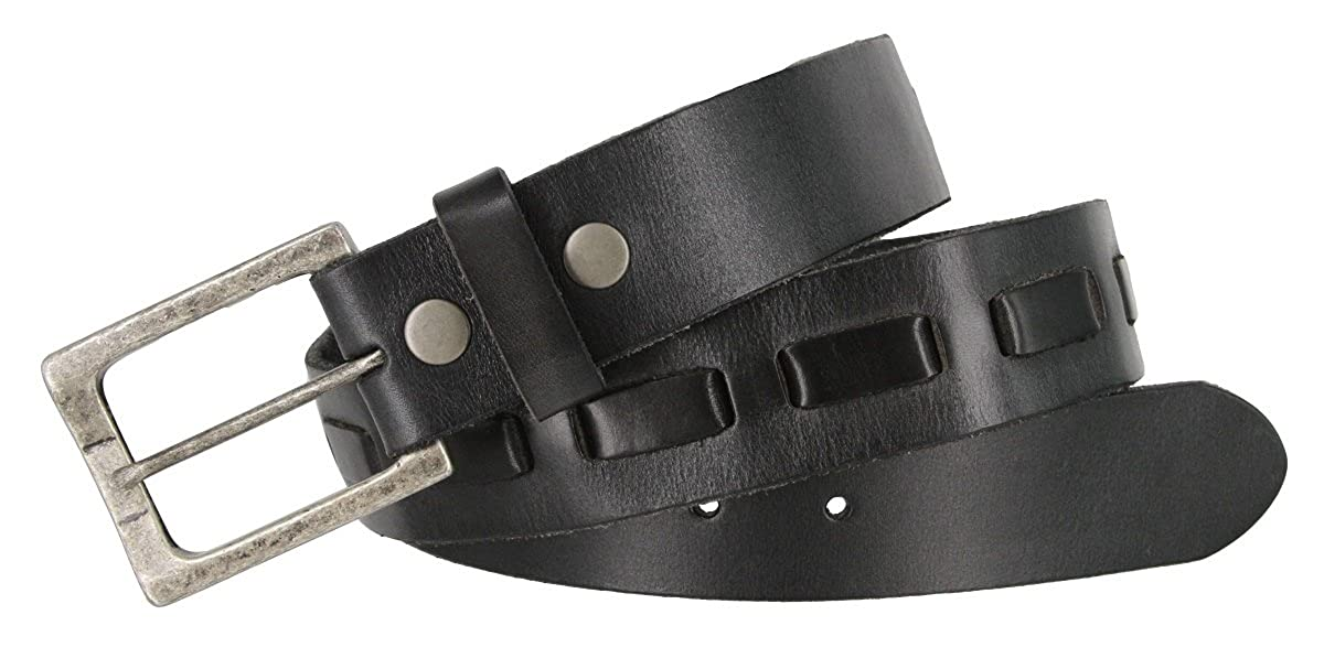 383000-04 Full Grain Leather Belt Strap with Antique Buckle