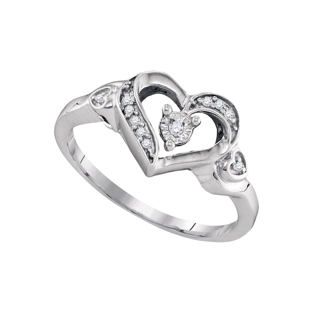 Size - 7 - Solid 925 Sterling Silver Round White Diamond Engagement Ring OR Fashion Band Prong Set Solitaire Shaped Heart Ring (.05 cttw)