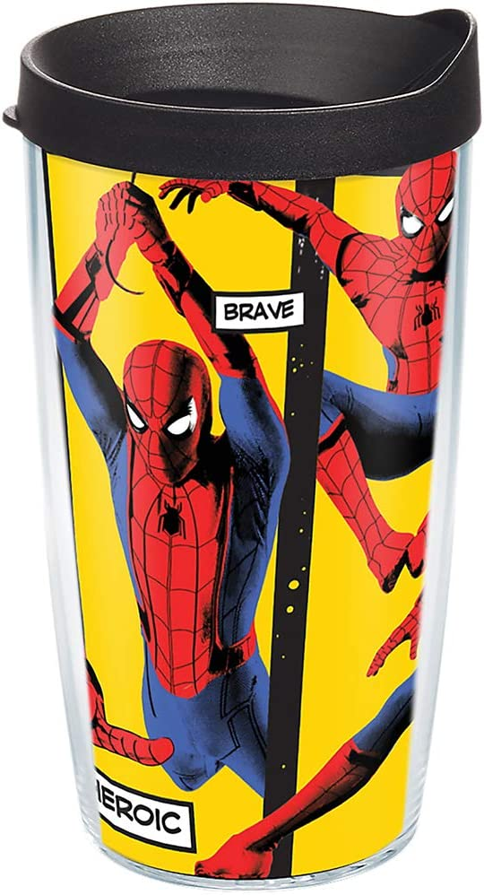 Tervis Marvel - Spider-Man Far From Home Insulated Travel Tumbler with Wrap & Lid, 16 oz - Tritan, Clear