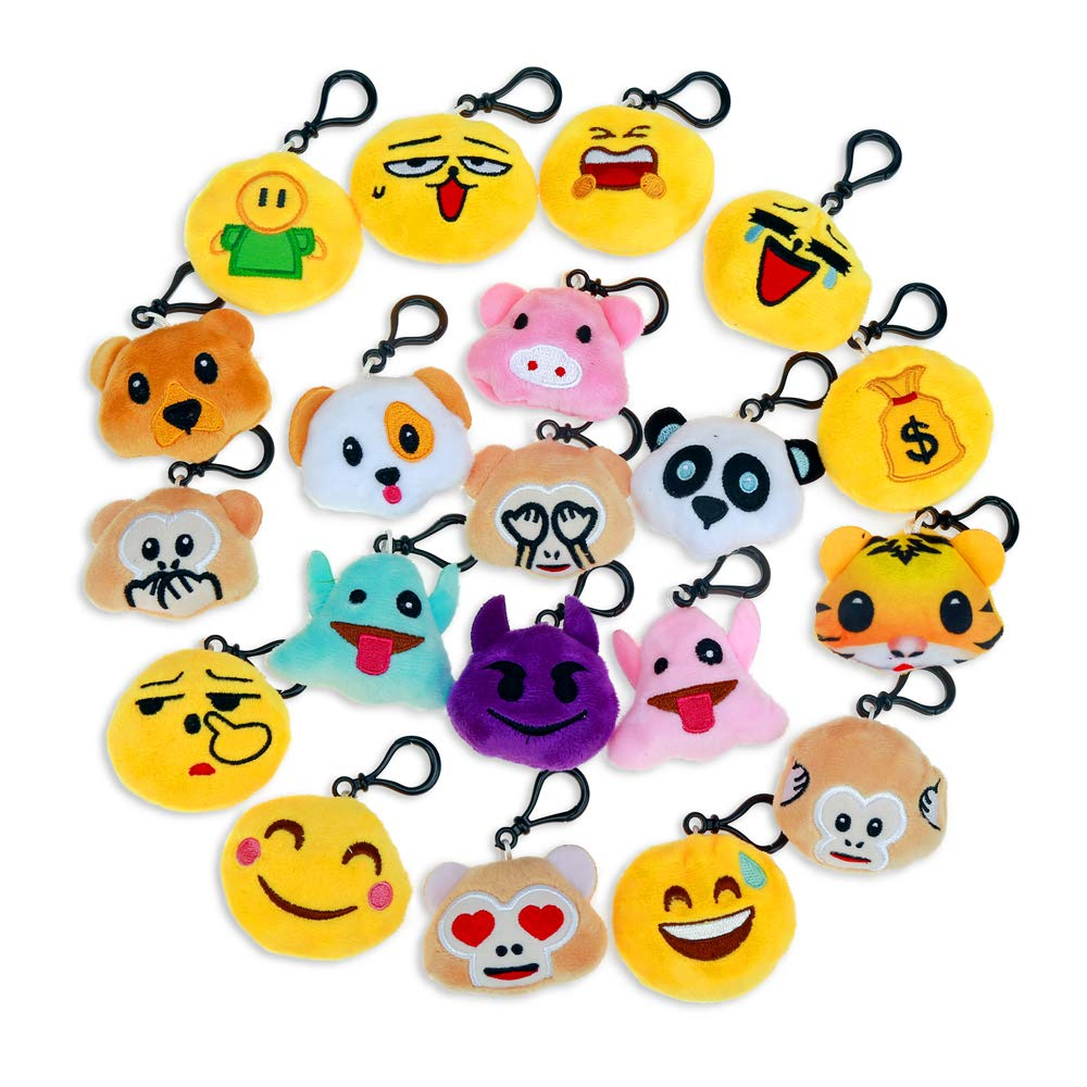 Amazon Niviy Plush Emoji Keychain Cute Faces Themed Party Favors Decorations For Kids Birthday Gift Pack Of 202 Inch Toys Games