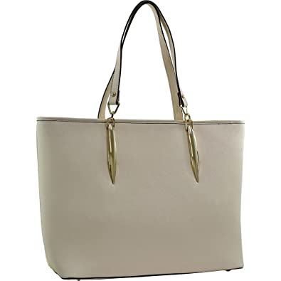 a167587e359f Amazon.com  Dasein Large Saffiano Faux Leather Tote with Minimal Accent  Hardware (Beige)  Shoes