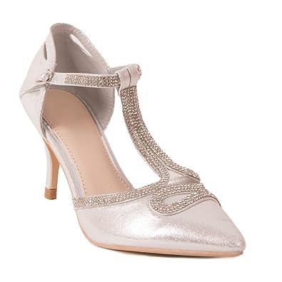 Primtex Escarpins mariage argentés à bouts pointus et bride strass petit Argent - Chaussures Escarpins Femme