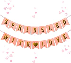 Sprinkled with Love Banner - Glitter Pink Baby Sprinkle Decorations - Girl Baby Shower Decorations Gender Reveal Party Supplies