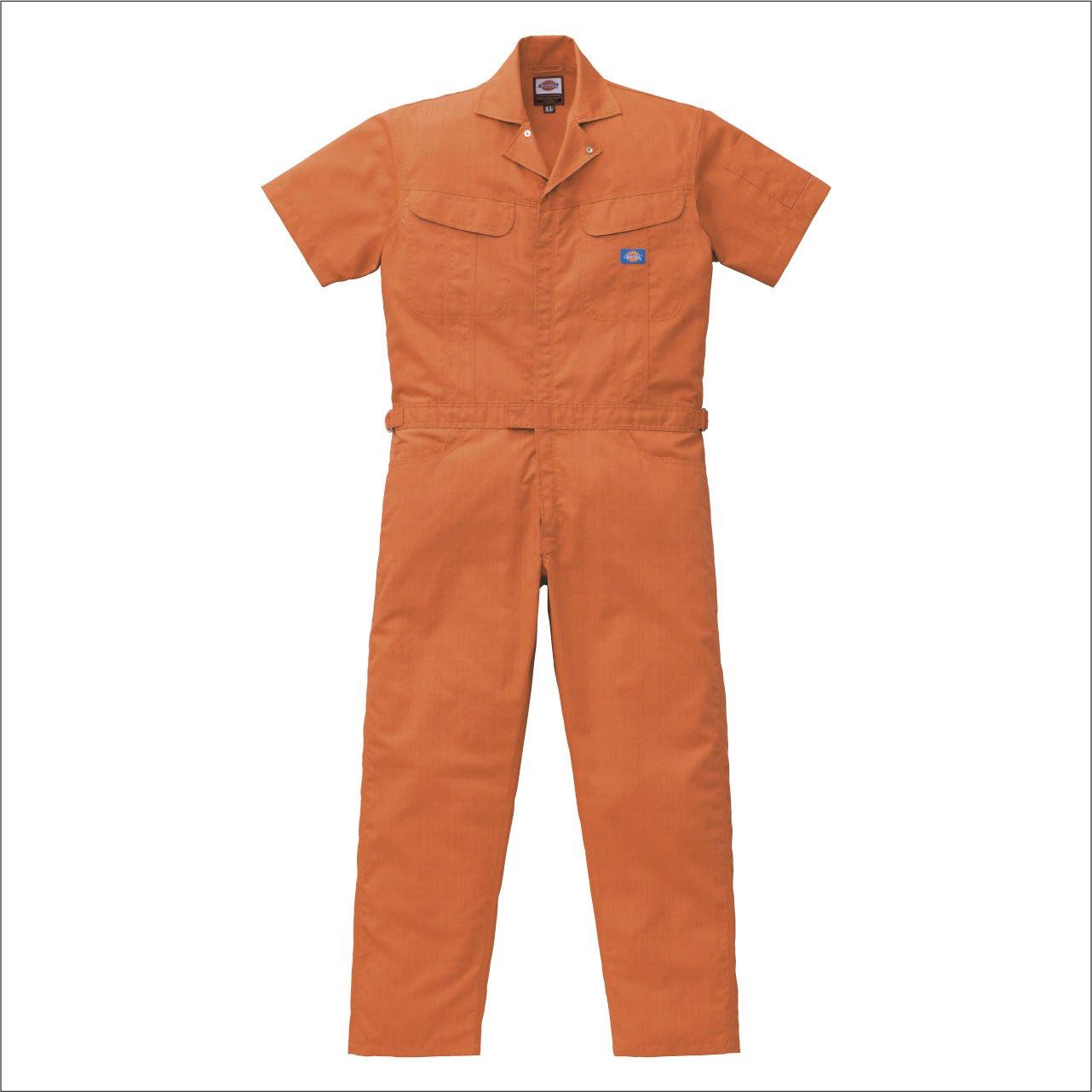 (ディッキーズ) Dickies ブッチャー織り半袖つなぎ Dickies-1111 B00TIHGIRU S|オレンジ