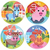 """French Bull 8"""" Kids Plate Set of 4 - BPA Free, Durable, Indoor and Outdoor - Farm"""