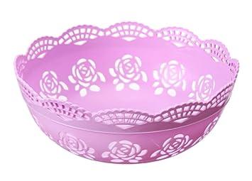 Bandeja de fruta de plástico rosa Bandejas de frutas secas / dulces / meriendas / frutas, púrpura: Amazon.es: Hogar