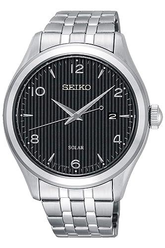 0c03a2d7969b1 Seiko Solar Reloj para Hombre Analógico de Solar con Brazalete de Acero  Inoxidable SNE489P1  Amazon.es  Relojes