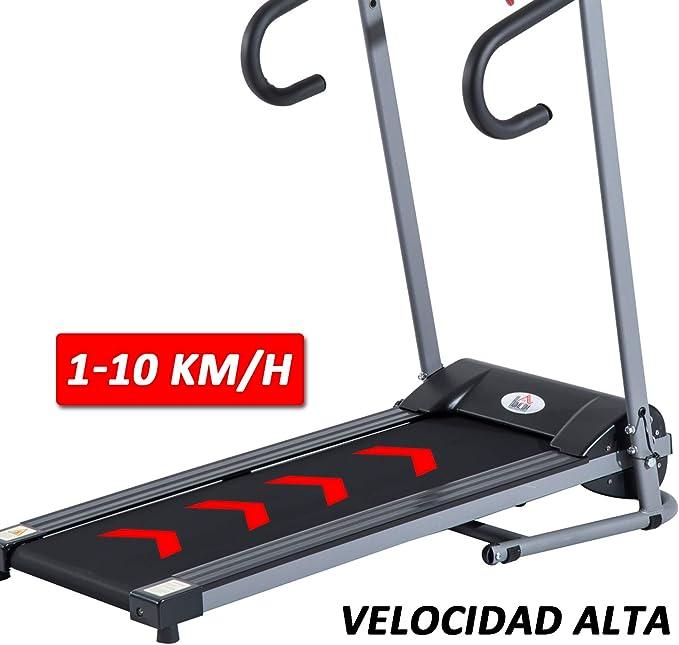 HOMCOM Cinta de Correr y Andar Plegable y Eléctrica de 500W para Fitness 1-10Km/h con Pantalla LCD y Carga Máx. 110 kg Negro y Gris