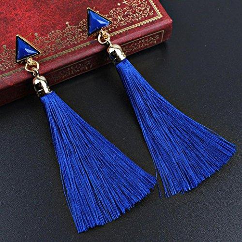 Sunward 1 Pair Womens Long Tassel Dangle Earrings for Girls Fringe Drop Earrings Elegant (Blue) (Cultured Kids Earring)