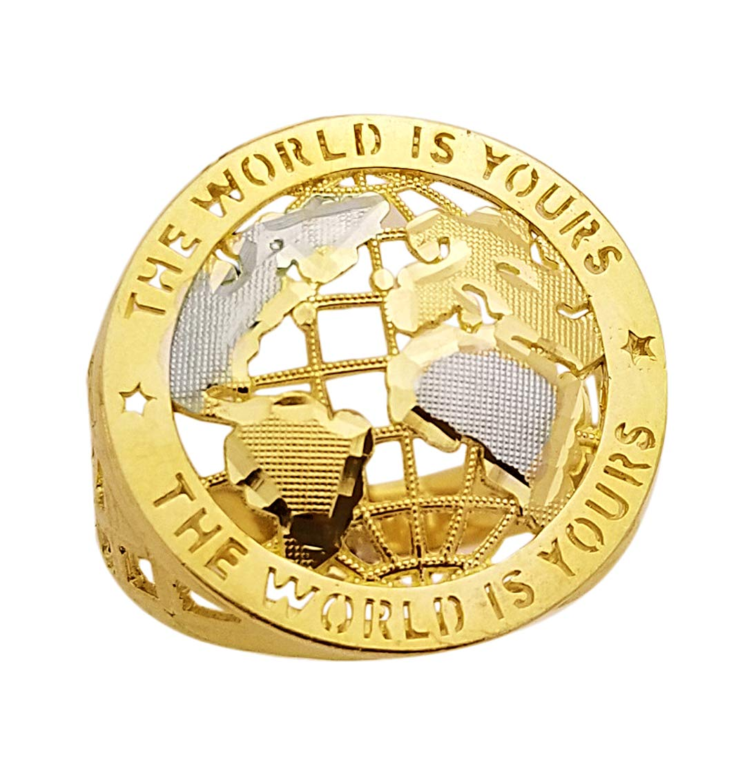 AMZ Jewelry 10K Yellow Gold World Globe Ring Mens World Map Ring