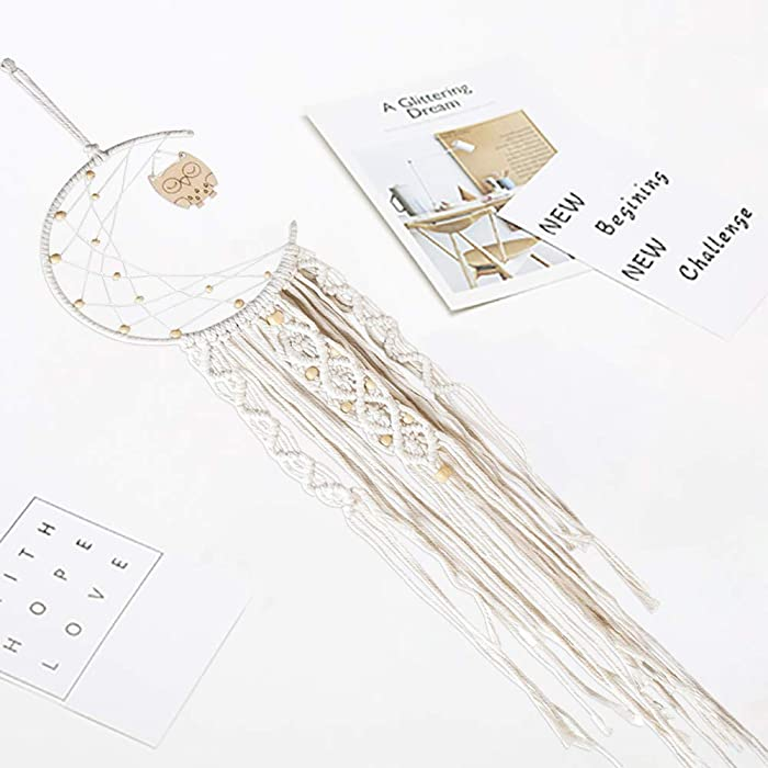 Dream Catcher|Moon Dream Catcher,Handmade Macrame Wall Hanging Bohemian Dreamcatcher for Home Decor, Room Decor, Wall Décor, Ornament Craft Gift(Moon)