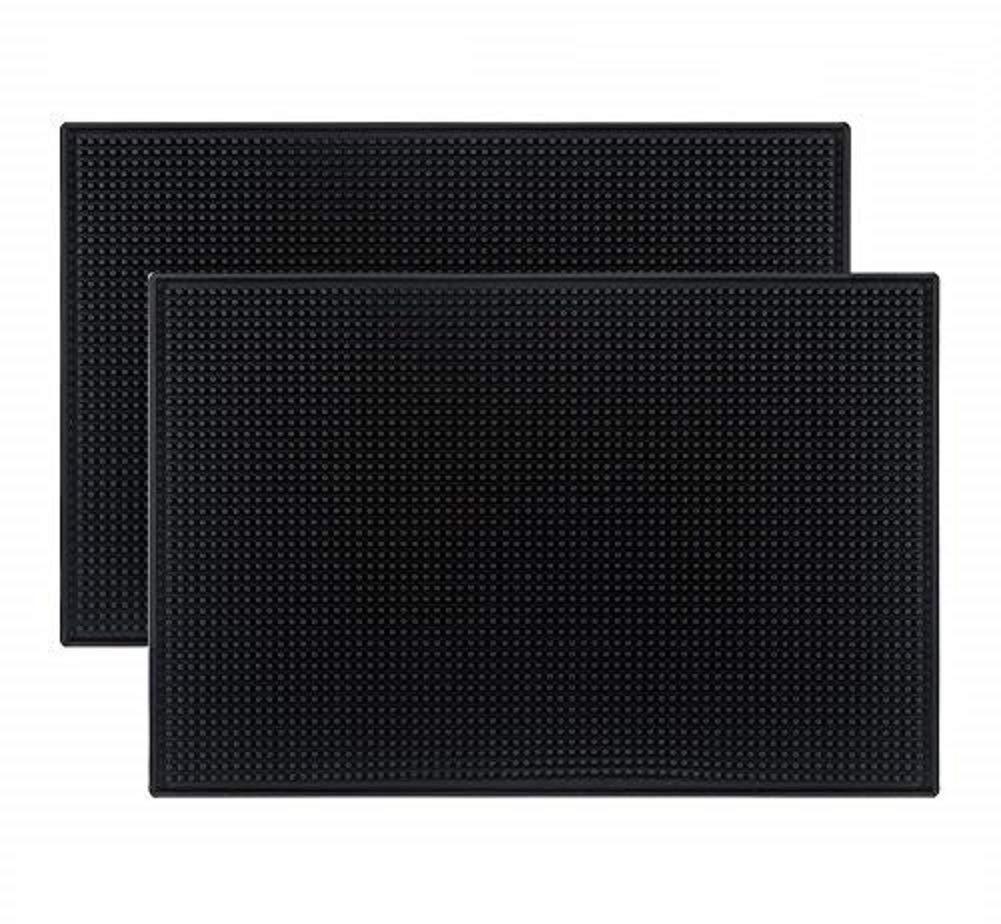 Tebery Black Mat 18'' x 12'' Rubber Bar Service Spill Mat ( 2 pack )