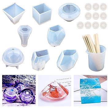 Moldes de resina,incluidos cubos,pirámides,pirámides hexagonales, esfera,diamante,