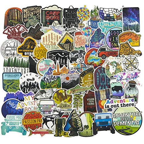 Outdoor Nature Stickers for Laptop, Vinyl Hiking Camping Adventure Water Bottle Laptop Computer Phone Notebook Luggage Guitar Skateboard Decal 65Pcs Pack