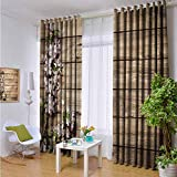 hengshu Rustic Shading Insulated Curtain Blooming Orchard Spring for Living Room or Bedroom W84 x L108 Inch