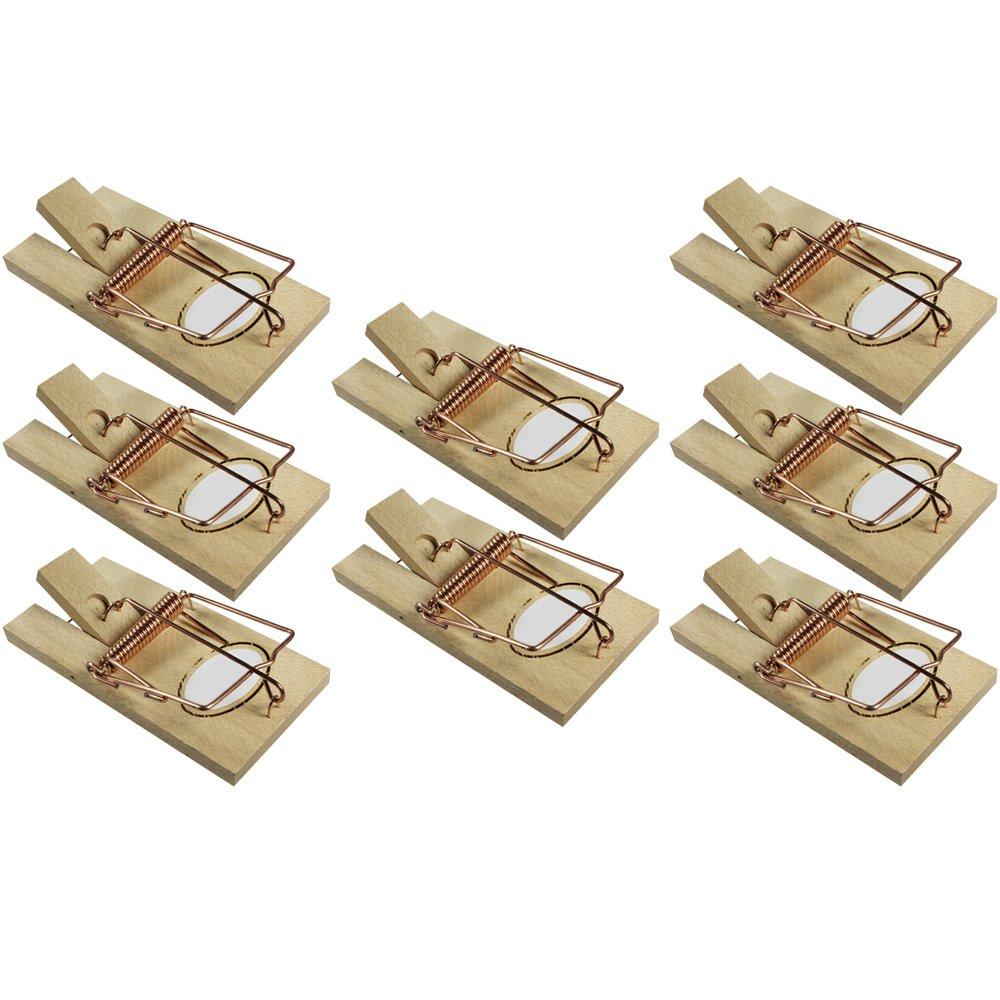 com-four 3X Wühlmausfalle, Wühlmaus-Zangenfalle aus verzinktem Blech, ca. 18,5 cm, mit Köderblech (03 Stück - Zange gezahnt)