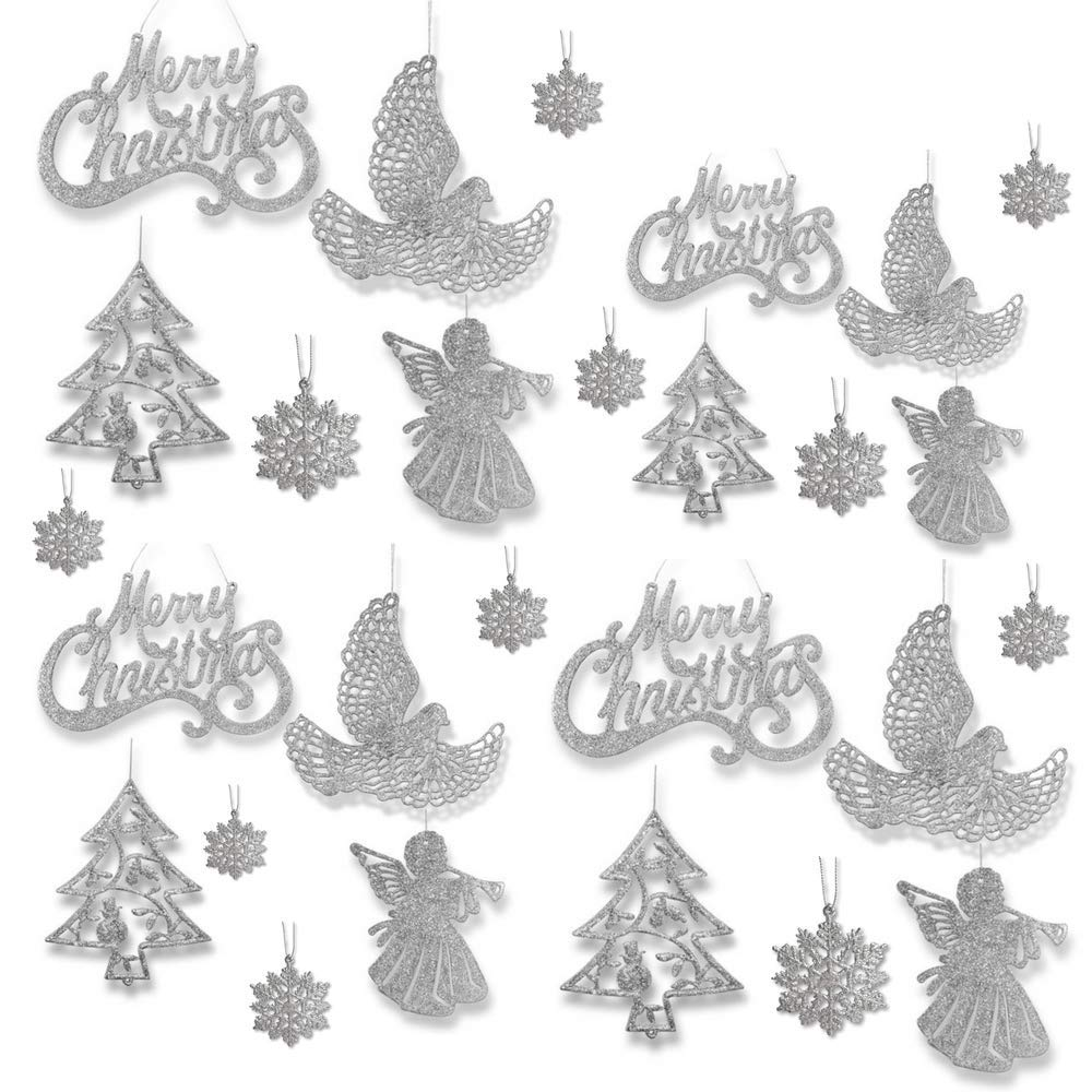 Silver Christmas Ornaments - Pack Of 39 Silver Glitter Ornaments - Merry Christmas, Angels, Doves, Xmas Trees And Snowflakes - Christmas Decorations Banberry Designs 3552