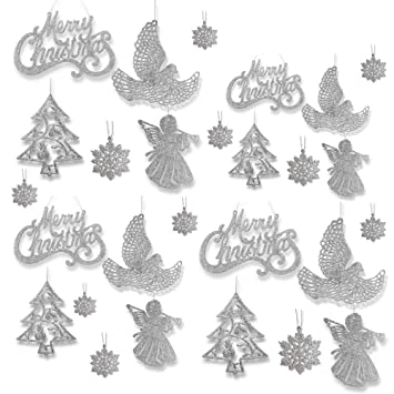 banberry designs silver christmas ornaments pack of 78 silver glitter ornaments merry christmas
