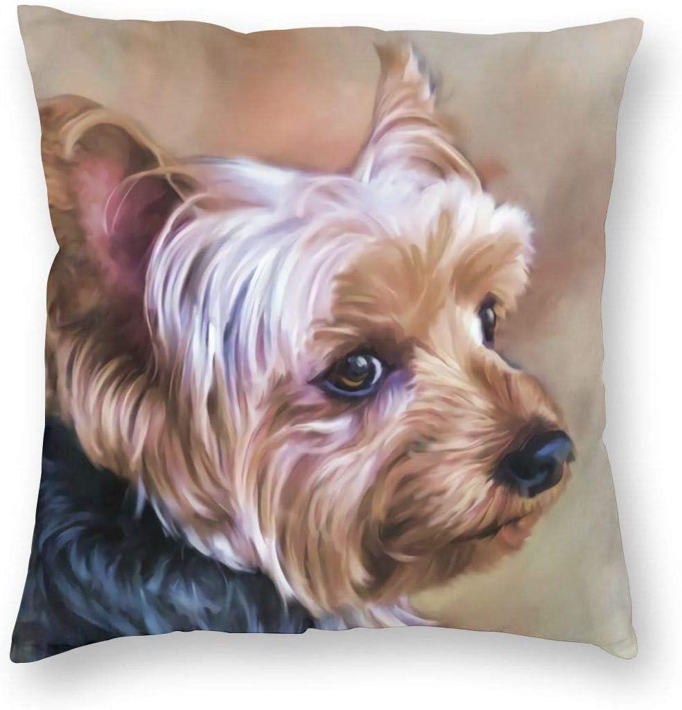 Annays Couch Cushions Personnalis/é Yorkie Chien Yorkie Chien Doux en Peluche Yorkshire Terrier D/écor /À La Maison Fermeture /À Glissi/ère Chaise DInt/érieur Personnalis/ée 45X45Cm Doux Carr/é