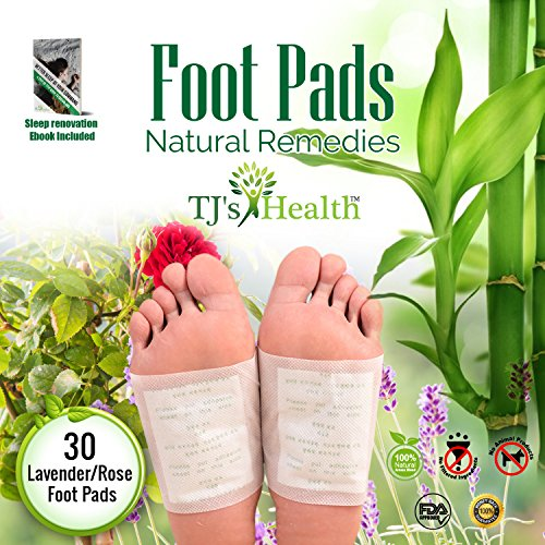 Foot Pads by TJ's Health | 30 Premium Natural Foot Patches | Reflexology | Improve Circulation & Cognitive Relaxation - 100% Organic | FDA Certified | Sleep Renovation Ebook Included!