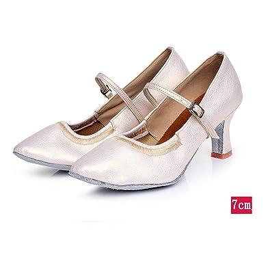 Wxmddn Weibliche Modern Dance Schuhe Pearl White Tanzschuhe weiblichen Erwachsenen 5 cm hohen Absatz indoor Schuhe weichen Sohlen Schuhe Vier Jahreszeiten, E34