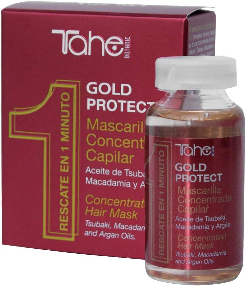 Tahe Gold Protect Mascarilla Pelo Concentrada/Mascarilla para el Cabello Concentrada Anti-Encrespamiento con Aceites Naturales de Tsubaki, Macadamia y Argán, 20 ml