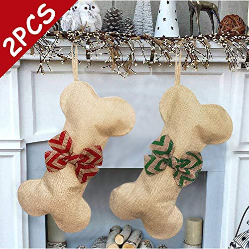 2 Pack Personalized Dog Christmas Stockings, Natural Burlap Xmas Stocking Decorations with Bowknot for Pets Cat, Large 15.5 inch X 8 inch (Xmas Decorations Natural)