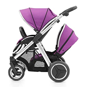 Cochecito doble para bebé BabyStyle Oyster Max (segundo asiento incluido), color morado