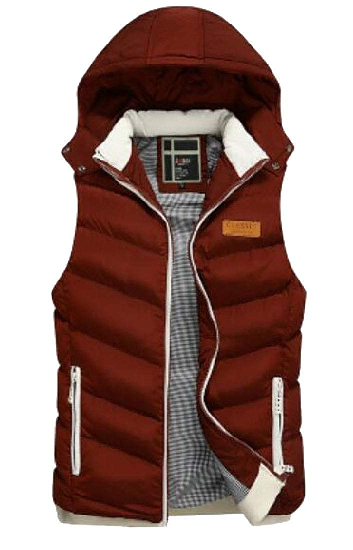 Generic Mens Quilted Vest Outerwear Hoodie Warm Padded Sleeveless Jackets
