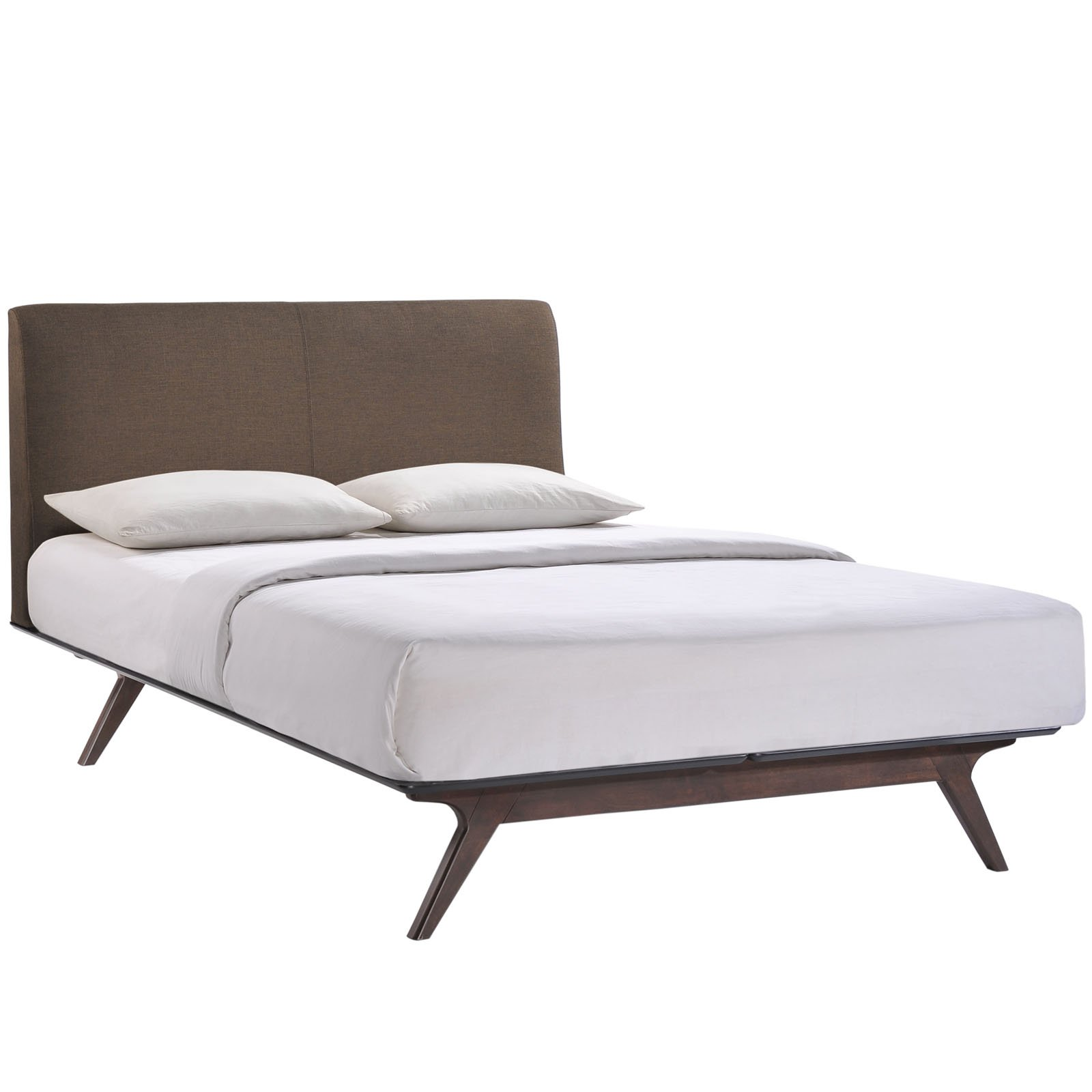 Modway Tracy Mid-Century Modern Wood Platform Queen Size Bed in Cappuccino Brown by Modway