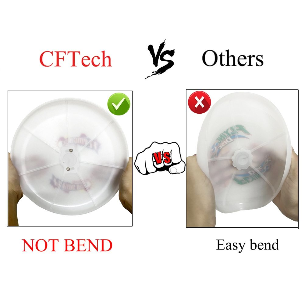 Sport Disc CFTech LED Flying Disc Light Up Frisbee Glow in the Dark for Night Games,185 Gram, Diameter 9.8 inch