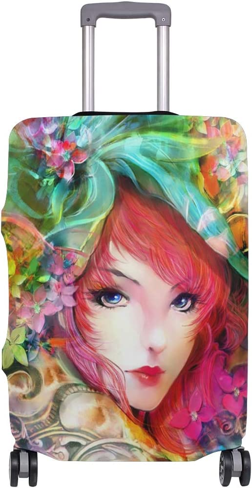 Art Painting Girl Eyes Face Flowers Red Hair Colorful suitcase cover elastic suitcase cover zipper luggage case removable cleaning suitable for 29-32 trunk cover