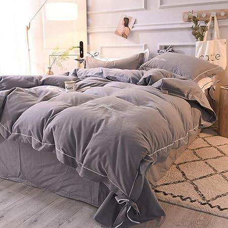 yaonuli Sábanas de algodón Cepillado de Cuatro Piezas para colchas de algodón Cama de Fresno 1.5 Funda de colchas de Cama 200/230, Cama de 150/200, Funda de Almohada 48/74 Dos: Amazon.es: Hogar