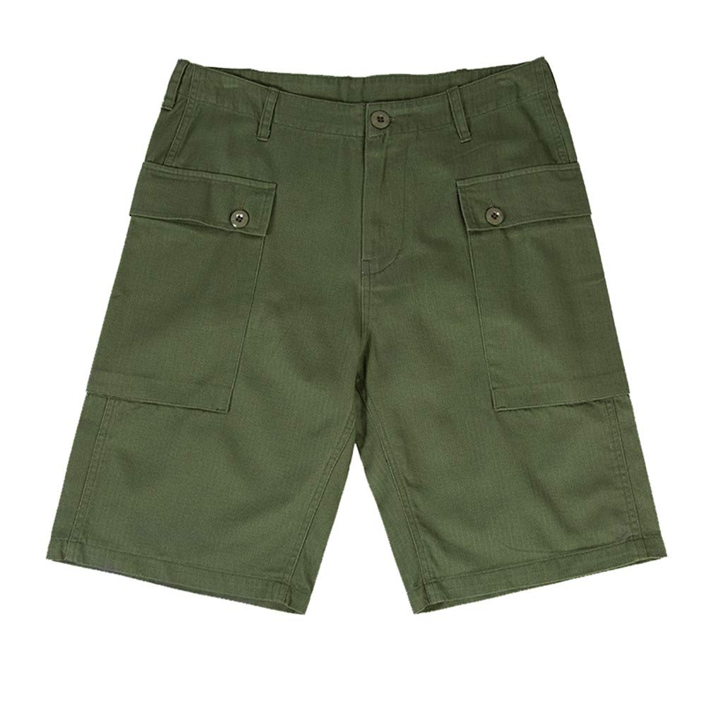 YBRR Replica WW2 U.S. Military USMC HBT P44 Short Pants Army Green (L) by YBRR