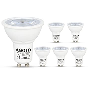agotd GU10 Bombillas LED 5 W 230 V, 35 W Bombilla Halógena de 50 W