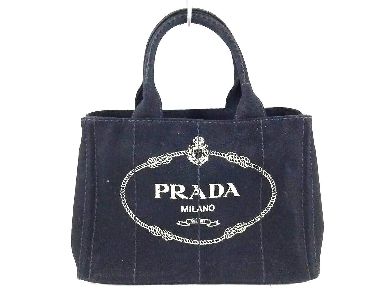 (プラダ)PRADA トートバッグ CANAPA 黒×アイボリー 【中古】 B07LG4W543