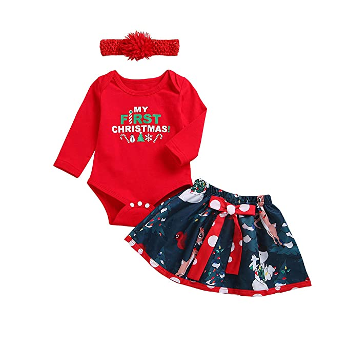 289baaa90c36 My 1st Christmas Outfit Baby Girls Romper Long Sleeve Bodysuit + Snowman Tutu  Skirt + Bowknot